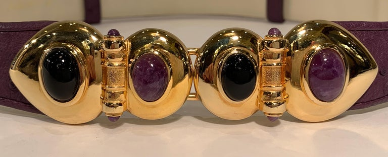 Opulent Judith Leiber Real Lavender Jade, Black Onyx and Plum Ostrich Gold Belt  In Good Condition For Sale In Tustin, CA