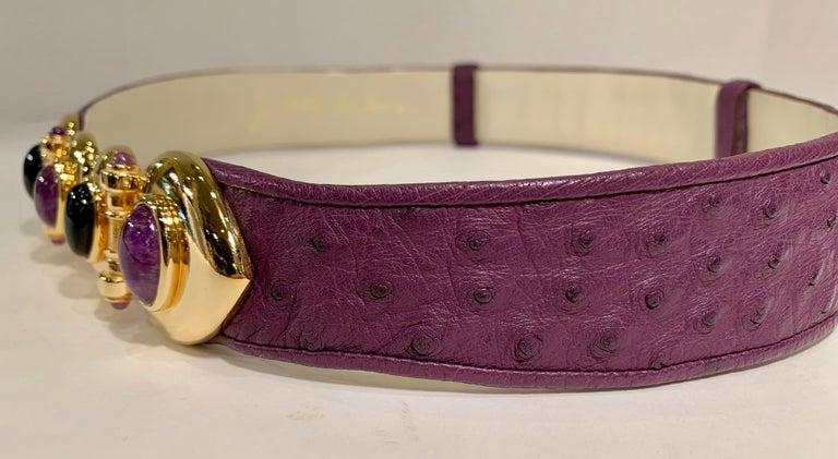 Women's Opulent Judith Leiber Real Lavender Jade, Black Onyx and Plum Ostrich Gold Belt  For Sale