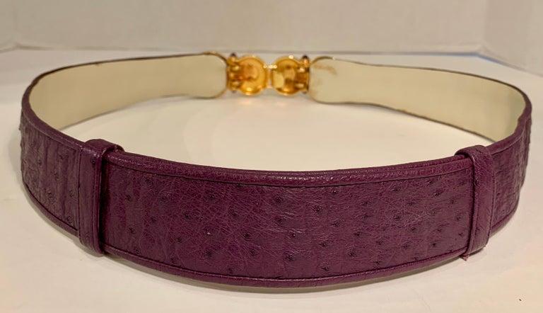 Opulent Judith Leiber Real Lavender Jade, Black Onyx and Plum Ostrich Gold Belt  For Sale 1