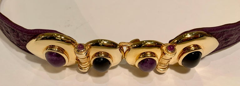 Opulent Judith Leiber Real Lavender Jade, Black Onyx and Plum Ostrich Gold Belt  For Sale 2