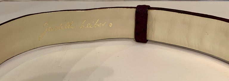 Opulent Judith Leiber Real Lavender Jade, Black Onyx and Plum Ostrich Gold Belt  For Sale 3