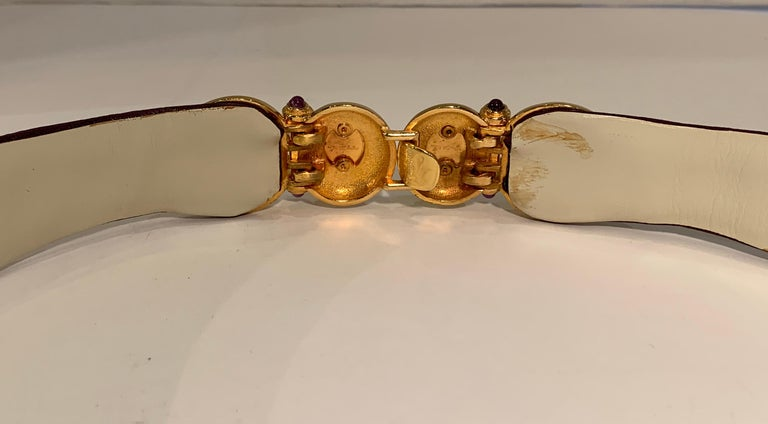 Opulent Judith Leiber Real Lavender Jade, Black Onyx and Plum Ostrich Gold Belt  For Sale 4