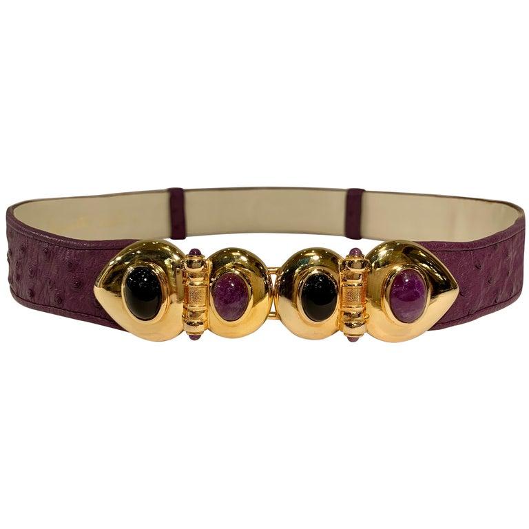 Opulent Judith Leiber Real Lavender Jade, Black Onyx and Plum Ostrich Gold Belt  For Sale