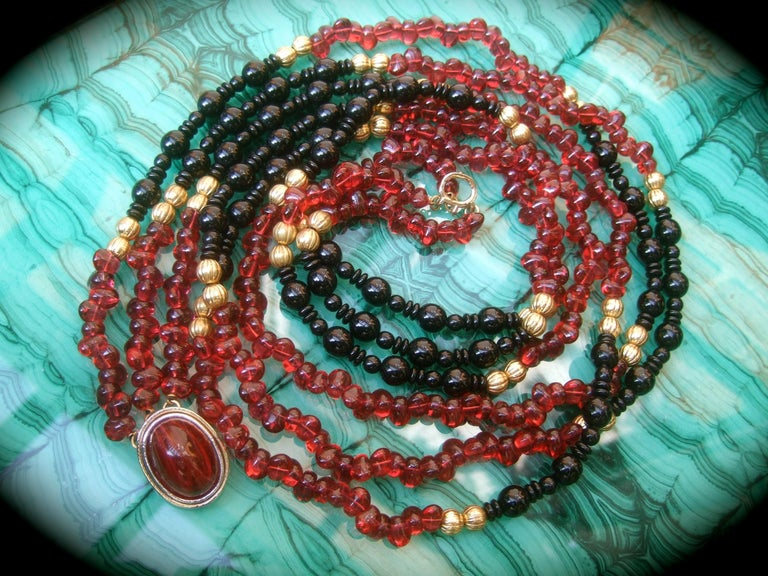 Opulent Long Glass Beaded Statement Necklace c 1980 For Sale 8