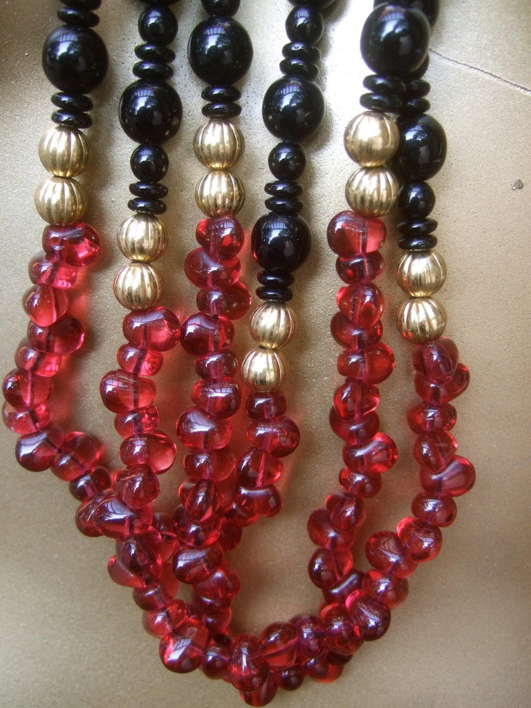 Opulent Long Glass Beaded Statement Necklace c 1980 For Sale 11