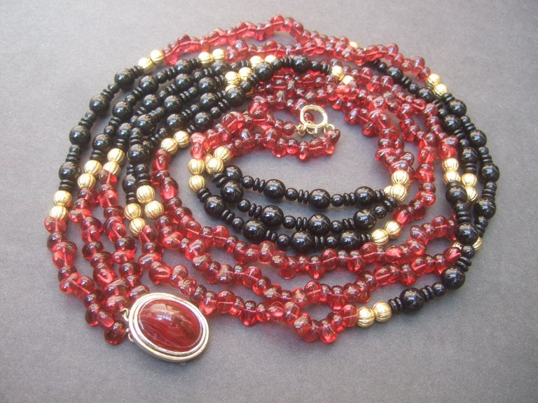 Opulent Long Glass Beaded Statement Necklace c 1980 For Sale 15
