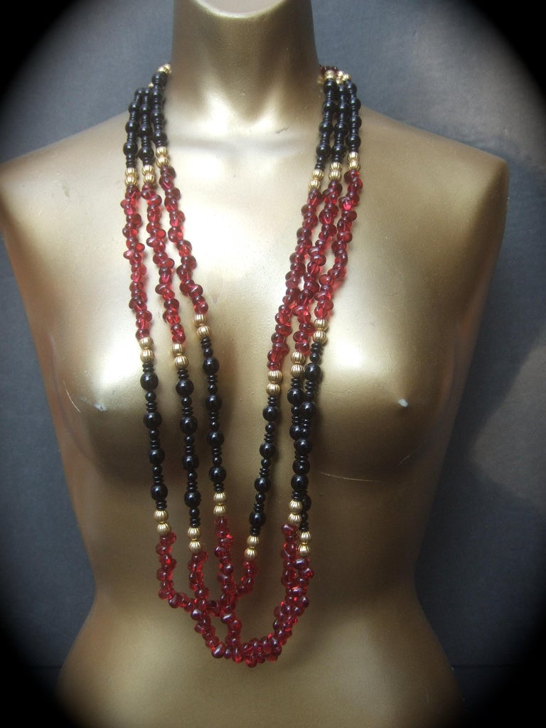 Art Deco Opulent Long Glass Beaded Statement Necklace c 1980 For Sale