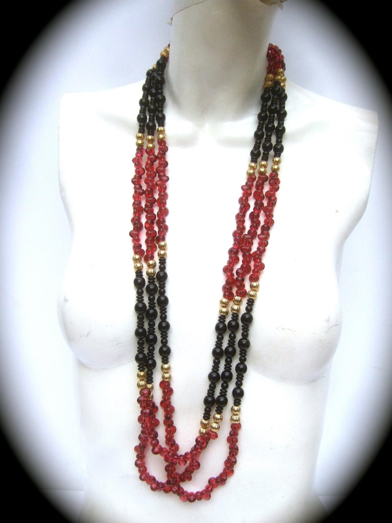 Opulent Long Glass Beaded Statement Necklace c 1980 In Good Condition For Sale In Santa Barbara, CA