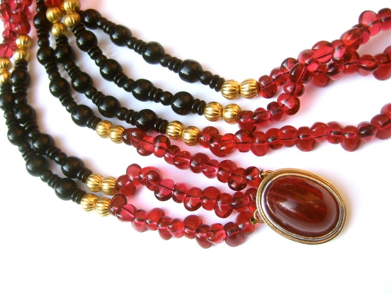 Women's Opulent Long Glass Beaded Statement Necklace c 1980 For Sale