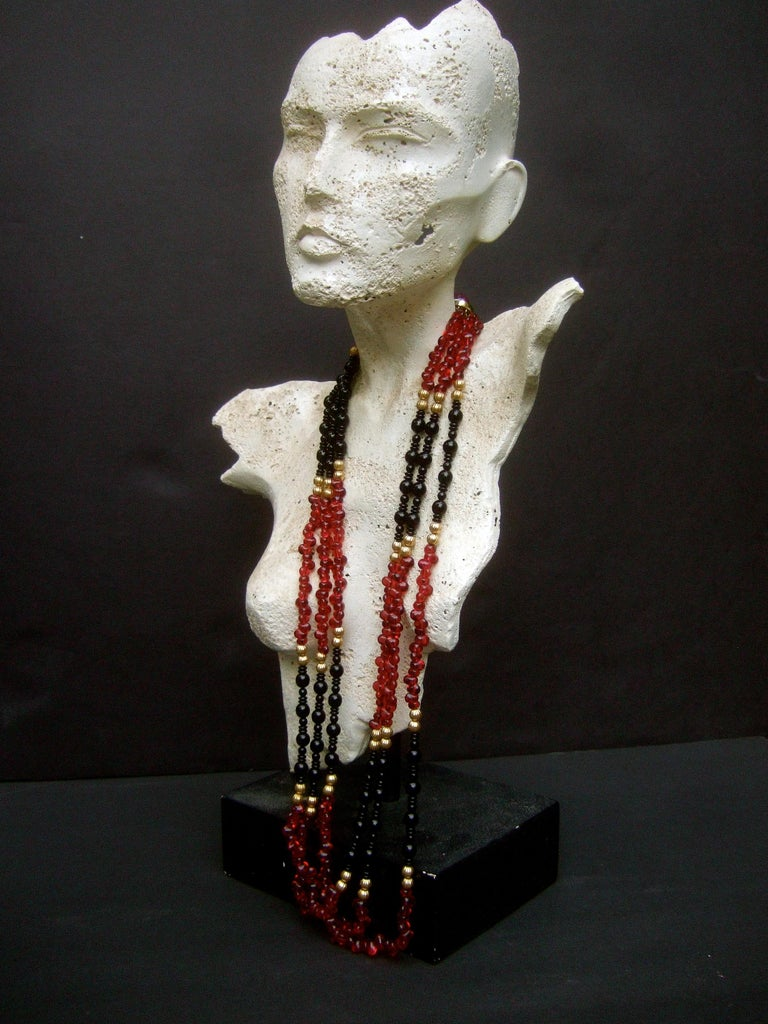 Opulent Long Glass Beaded Statement Necklace c 1980 For Sale 1