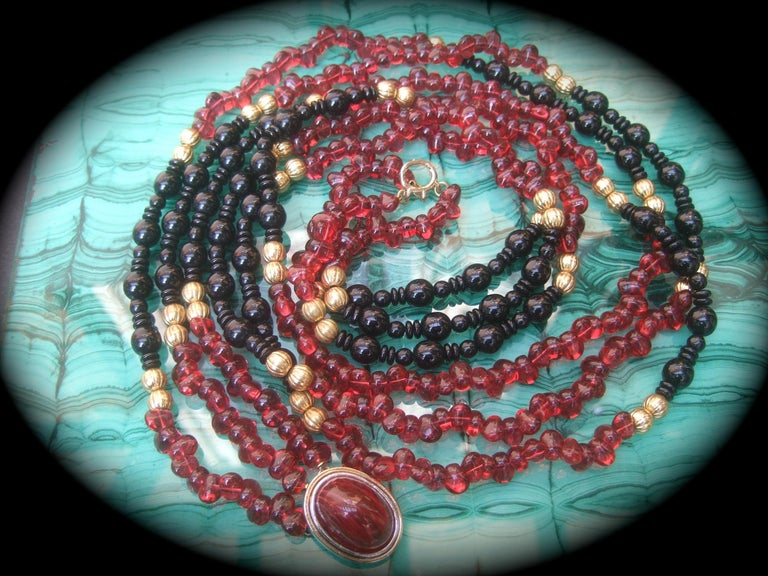 Opulent Long Glass Beaded Statement Necklace c 1980 For Sale 4