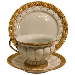 "Opulent Meissen Germany ""Golden Baroque"" Trio Set Cup, Saucer and Dessert Plate"