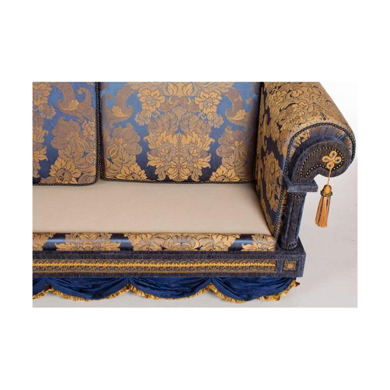 Opulent Pair Of French Royal Blue And Gold Silk Damask
