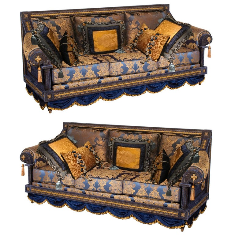 Ont Pair Of French Royal Blue Gold Silk Damask Three Cushion Sofas Couches For