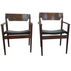 Opulent Rosewood Armchairs by Grete Jalk with Leather Seats