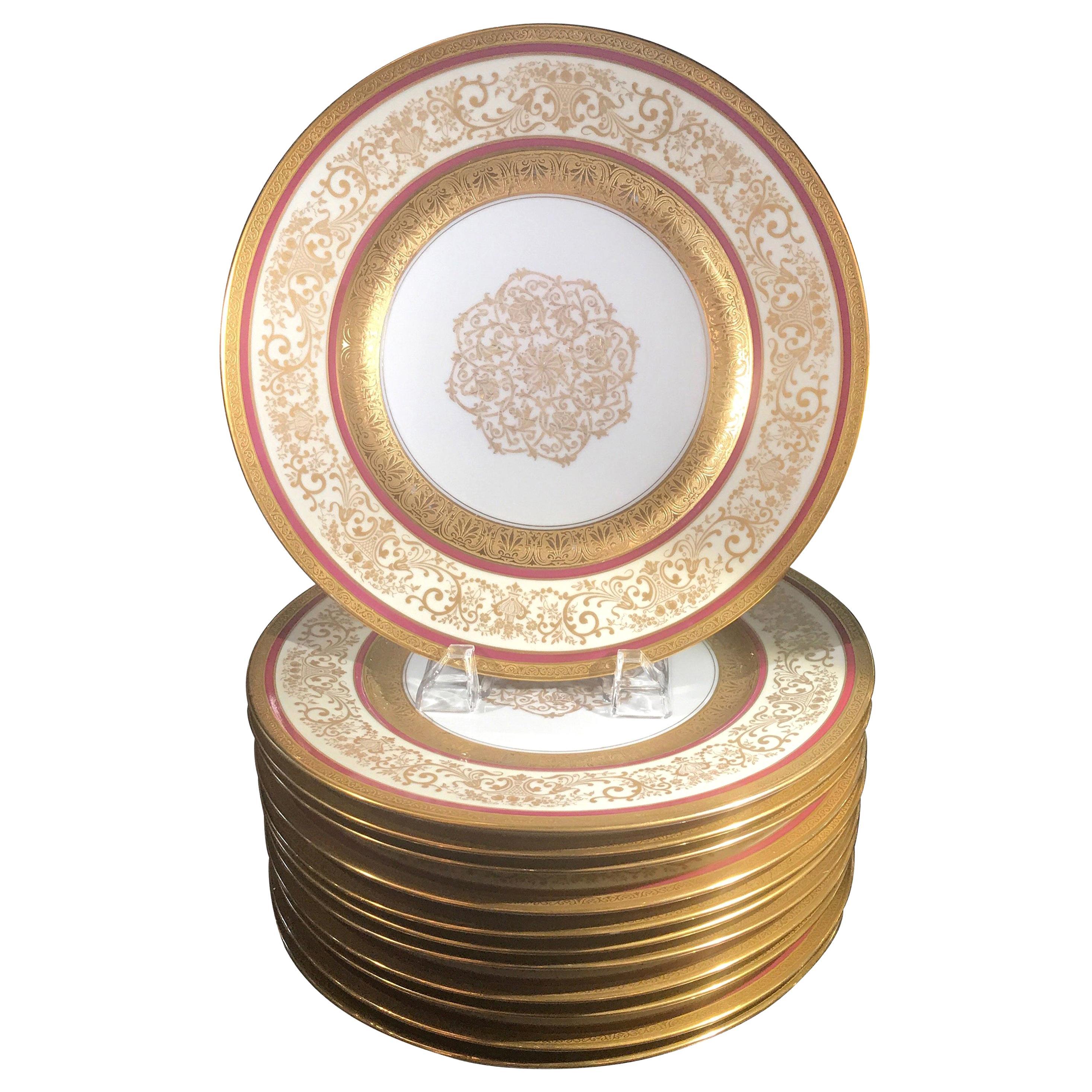 Opulent Set of 12 Gold Encrusted Service Dinner Plates