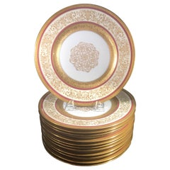 Opulent Set of 12 Gold Encrusted Service Dinner Plates