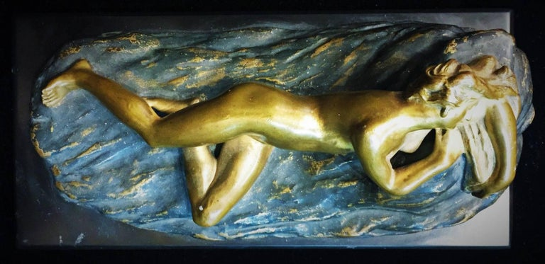 American Opus-Cellini, Art Deco Bronze and Marble Sculptural Paperweight, ca. 1930 For Sale