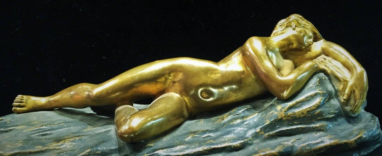 Gilt Opus-Cellini, Art Deco Bronze and Marble Sculptural Paperweight, ca. 1930 For Sale