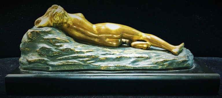 Opus-Cellini, Art Deco Bronze and Marble Sculptural Paperweight, ca. 1930 In Good Condition For Sale In New York, NY