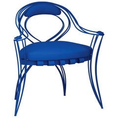 Opus Garden Blue Chair with Armrests by Carlo Rampazzi