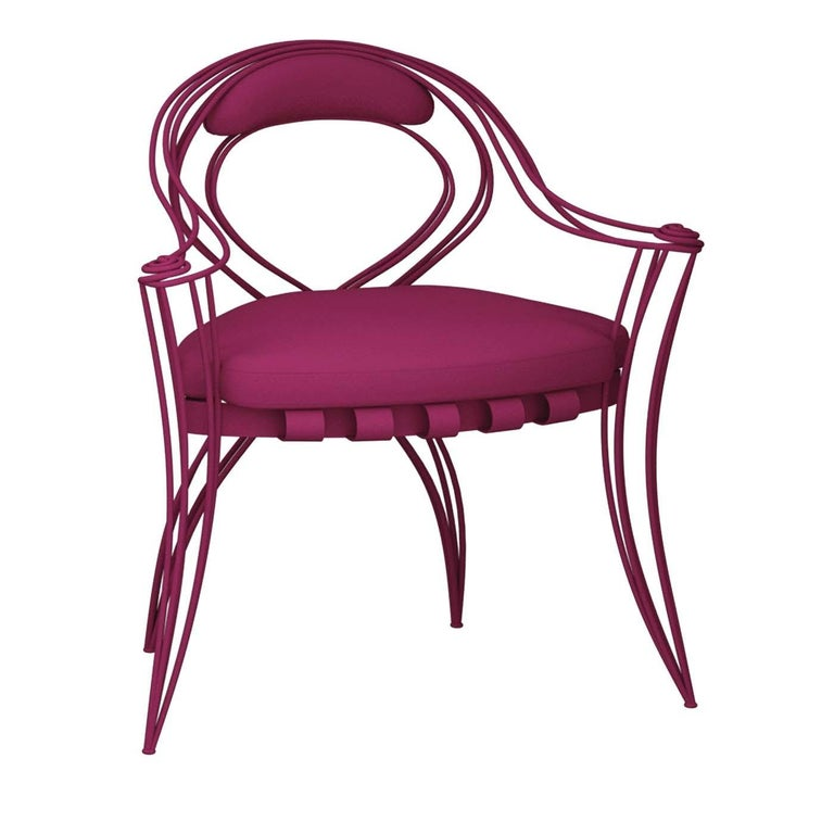Italian Opus Garden Magenta Chair with Armrests by Carlo Rampazzi For Sale