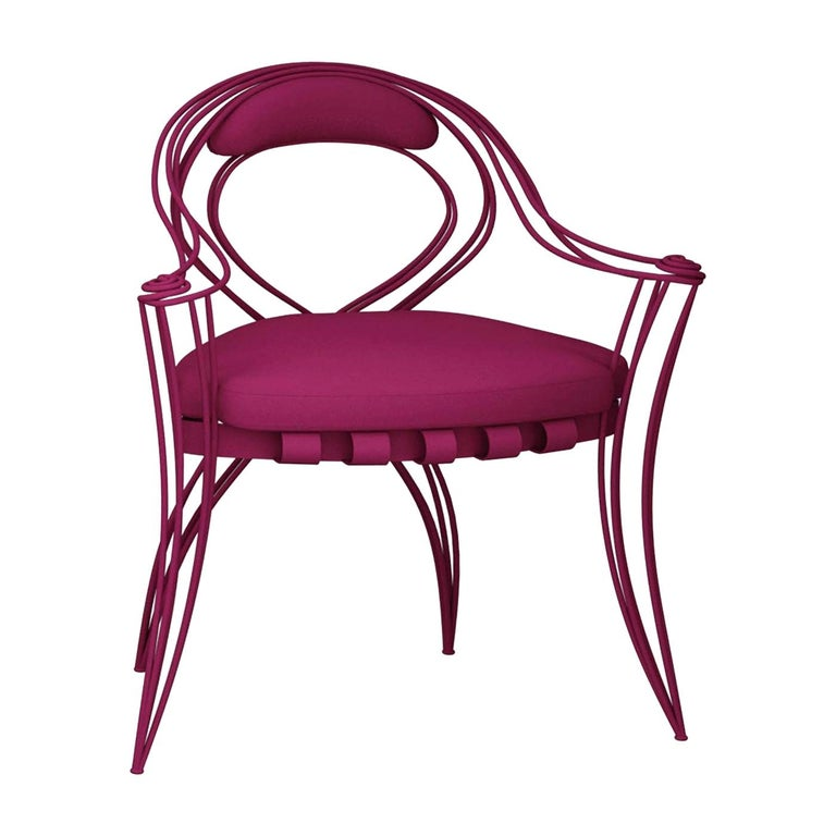 Opus Garden Magenta Chair with Armrests by Carlo Rampazzi For Sale