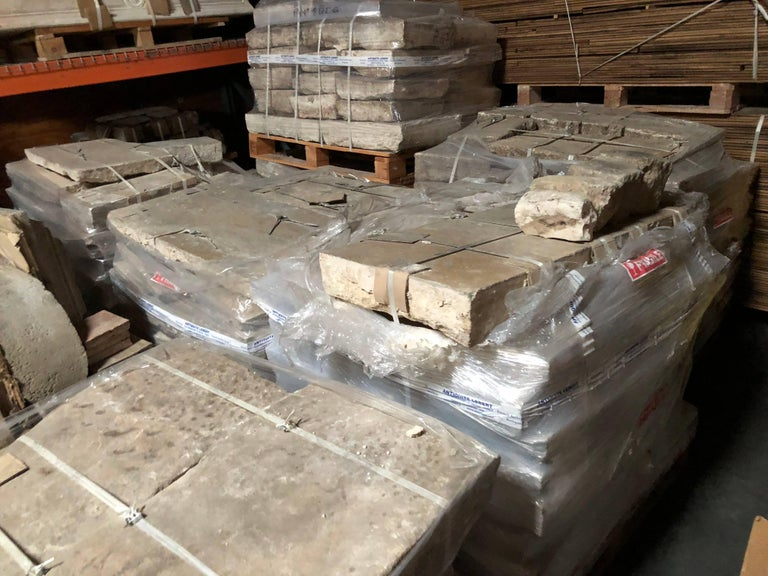 Opus Roman Solid Antique Limestone Flooring, 17th Century For Sale 3