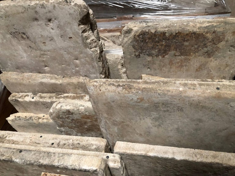 18th Century and Earlier Opus Roman Solid Antique Limestone Flooring, 17th Century For Sale