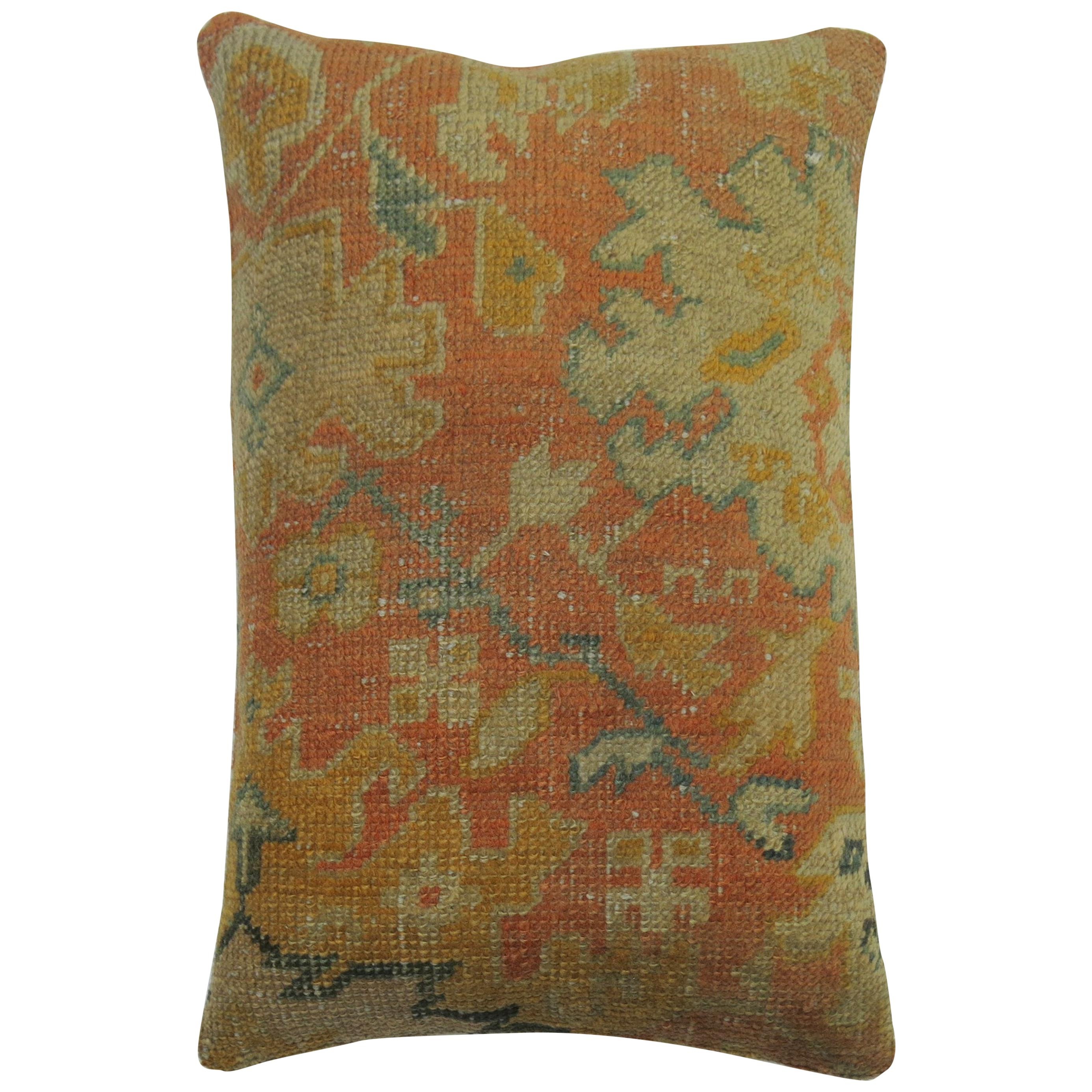 Orange 20th Century Antique Orange Oushak Rug Floor Pillow