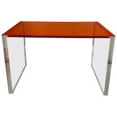 Orange Acrylic Top Desk/ Game Table