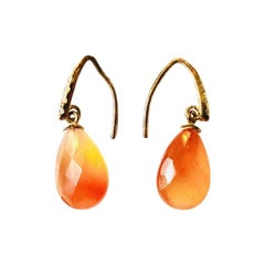 Orange Agate, 125 Silver Gold-Plated Drop Earrings