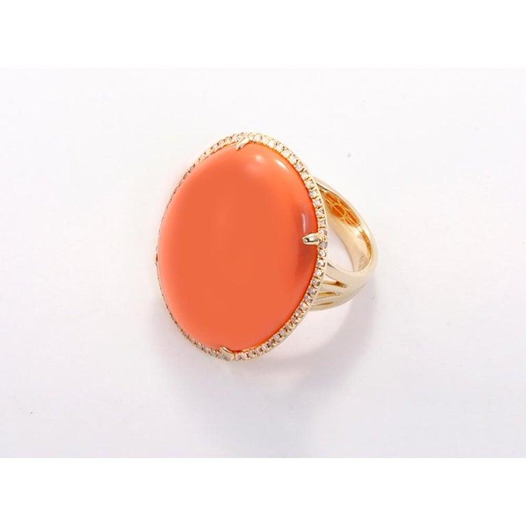 Women's or Men's Orange Agate Diamond Gold Ring For Sale
