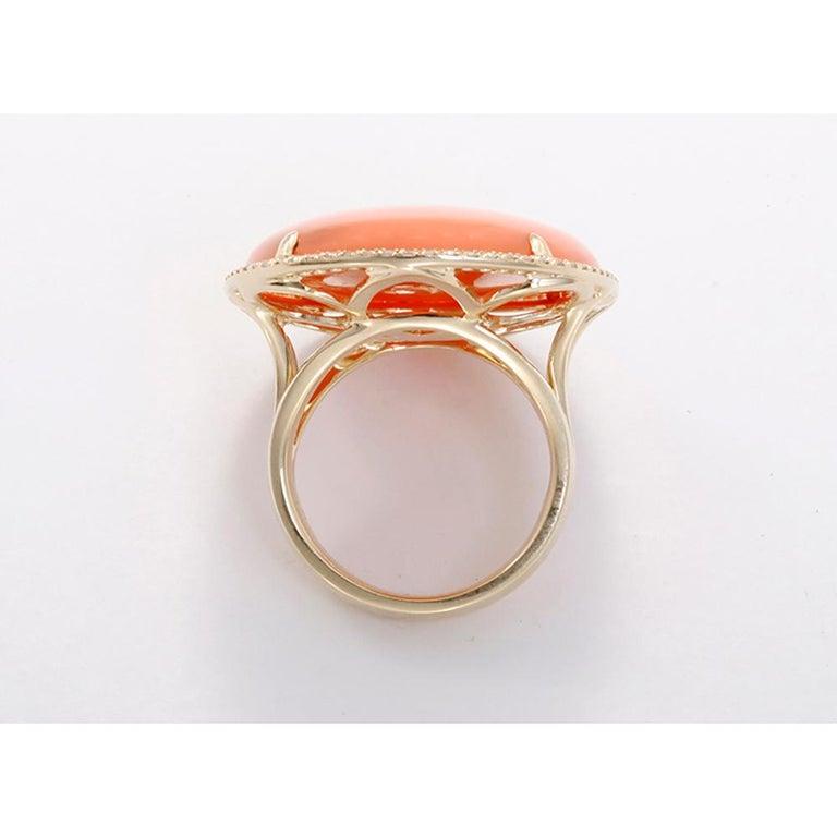 Orange Agate Diamond Gold Ring For Sale 2