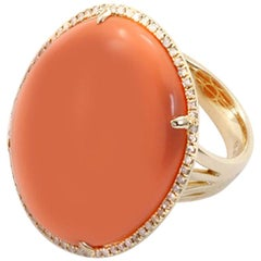 Orange Agate Diamond Gold Ring
