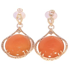 Orange Agate White and Brown Diamond Dangle Earrings 14 Karat Yellow Gold