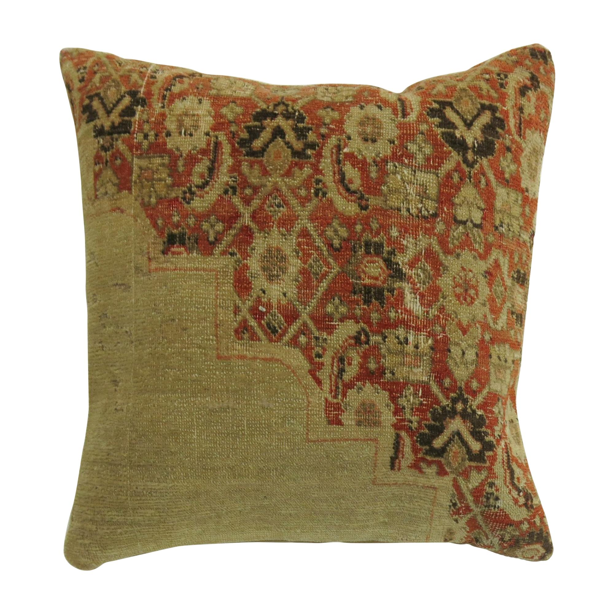 Orange and Beige Antique Tabriz Square Rug Pillow