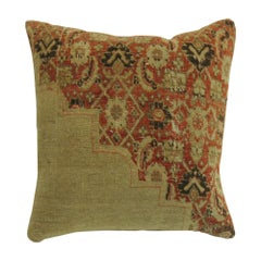 Orange and Beige Antique Tabriz Square Rug Pillow