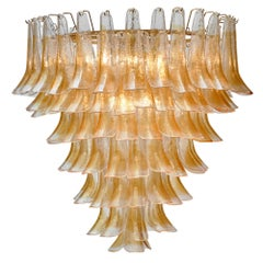 """Orange and Clear Murano Glass """"Selle"""" Chandelier"""