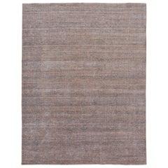 Apadana Orange and Gray Modern Bamboo/Silk Boho Handmade Rug