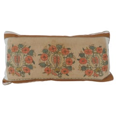Orange and Green Floral Embroidery Decorative Bolster Pillow