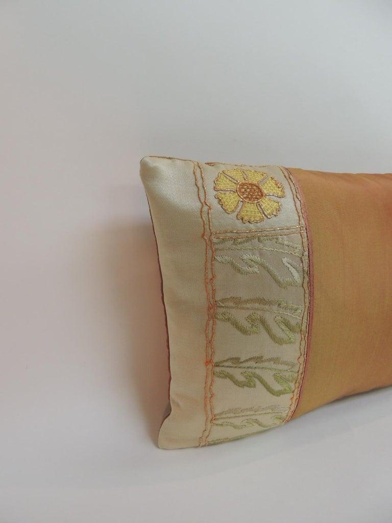 Moorish Orange and Green Turkish Silk Embroidered Lumbar Decorative Pillow For Sale