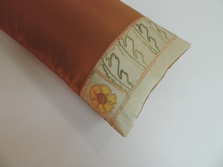 Hand-Crafted Orange and Green Turkish Silk Embroidered Lumbar Decorative Pillow For Sale