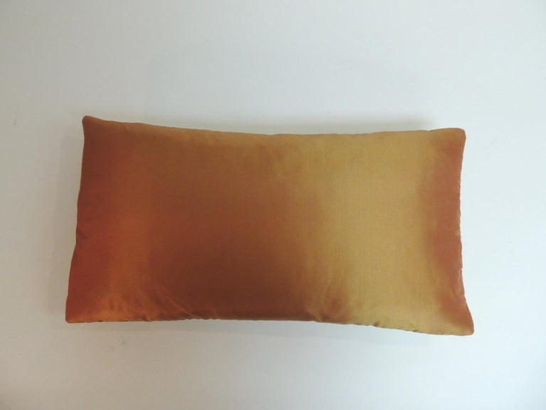 Orange and Green Turkish Silk Embroidered Lumbar Decorative Pillow In Good Condition For Sale In Wilton Manors, FL