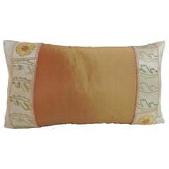 Orange and Green Turkish Silk Embroidered Lumbar Decorative Pillow