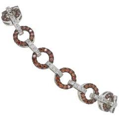 Orange and White Diamond Open Circle Tennis Bracelet