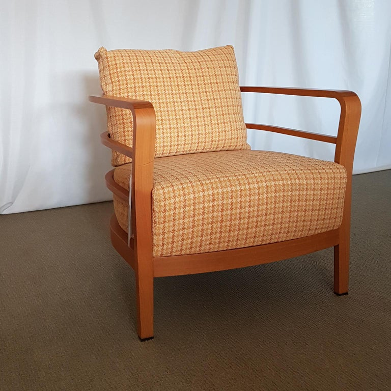 Orange and Yellow Cotton Fabric Italian Armchair with Frame in Teak Wood For Sale 5