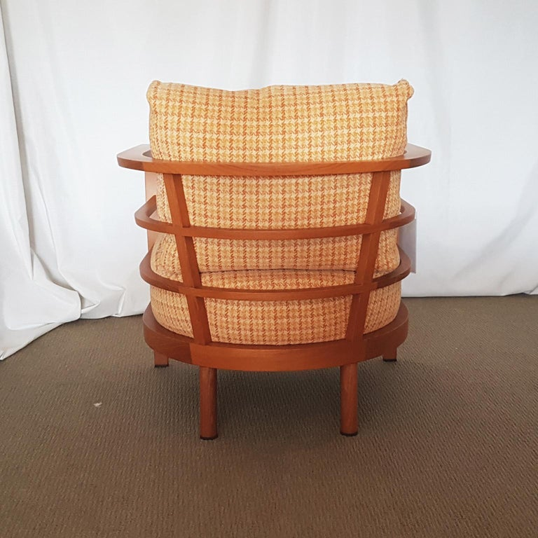 Other Orange and Yellow Cotton Fabric Italian Armchair with Frame in Teak Wood For Sale