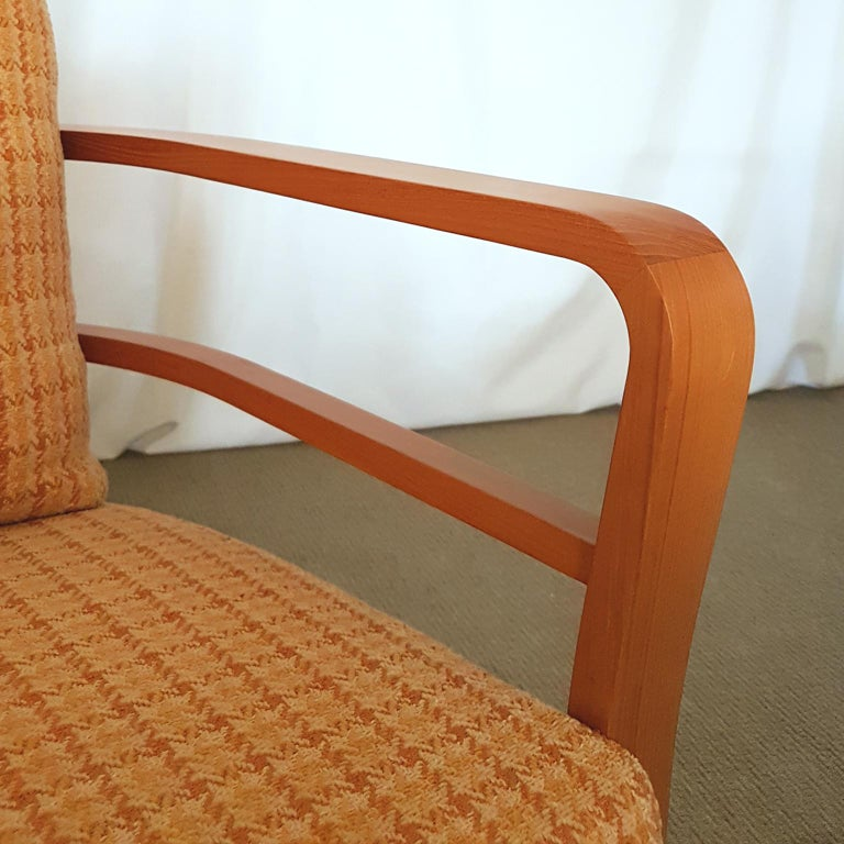 Contemporary Orange and Yellow Cotton Fabric Italian Armchair with Frame in Teak Wood For Sale
