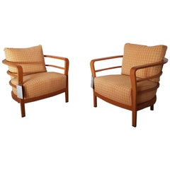 Orange and Yellow Cotton Fabric Italian Armchair with Frame in Teak Wood